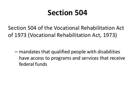 rehabilitation act of 1973 section 504 designing programs for ensuring access and equity for