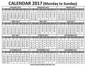 Monday Calendar 2017 Calendar 2017 Monday To Sunday Calendar
