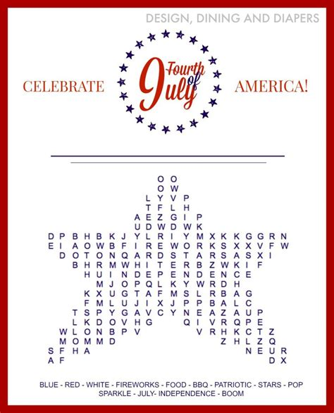 Free Search Of Fourth Of July Word Search Free Printable The 36th Avenue
