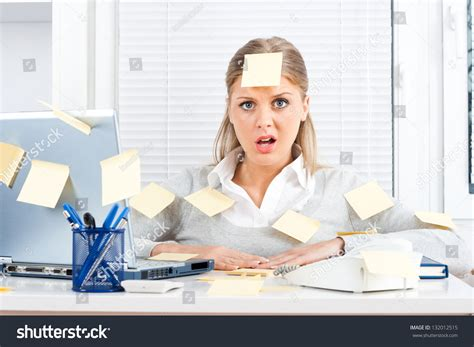 businesswoman much work dooverworked stock photo