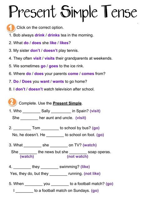 Present Tense Worksheets present simple tense interactive worksheet
