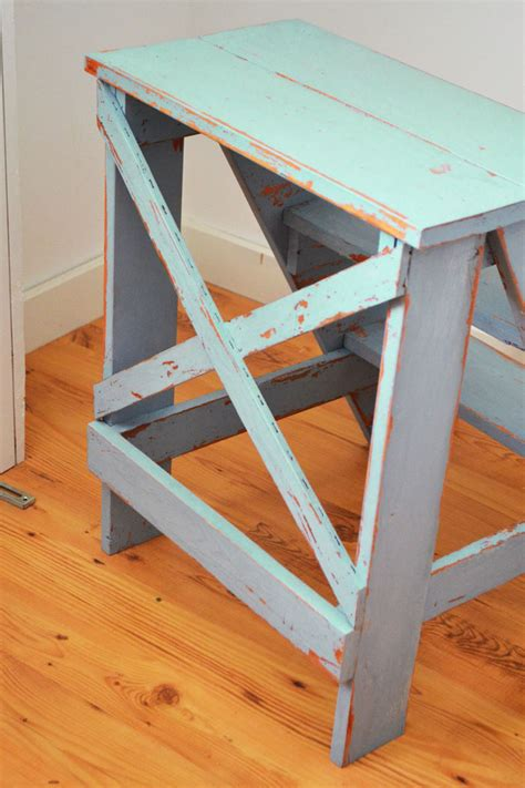 ana white step up side table diy projects ana white vintage x back step stool end table diy projects