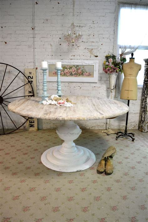 painted cottage chic shabby french linen round dining