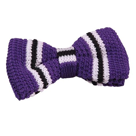 purple knit s knitted purple with black white thin stripe bow tie