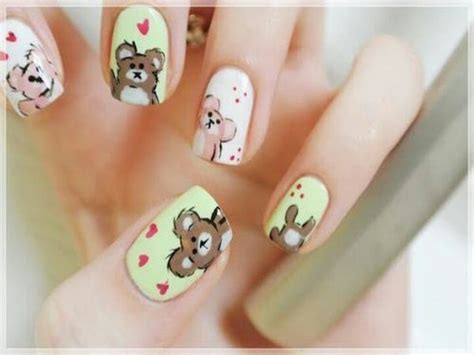 super cute brown bear pattern fake nails japanese pure 17 best images about teddy bear nail designs on pinterest