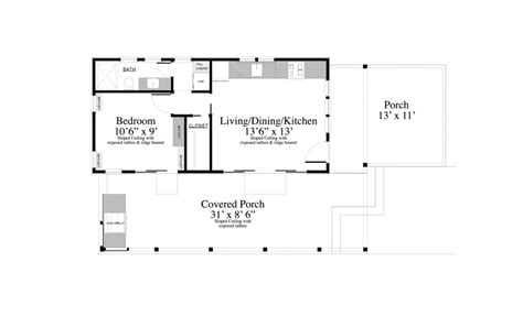 Contemporary Style House Plan   1 Beds 1.00 Baths 399 Sq