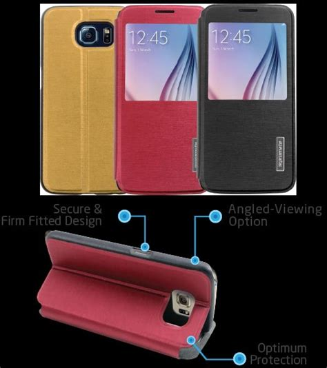 Samsung S6 Flip Transparan Touch Screen promate tama s6 book style flip cover with
