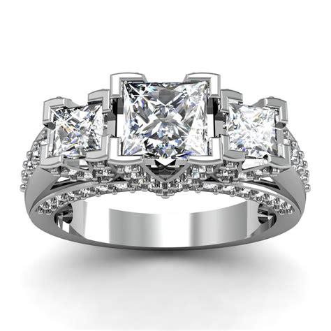 3 princess cut engagement ring pave set