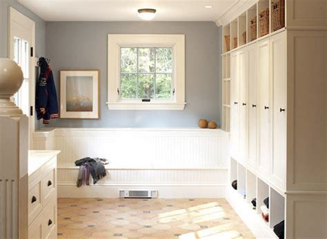 Tile In Dining Room mudroom lockers with doors spaces with none