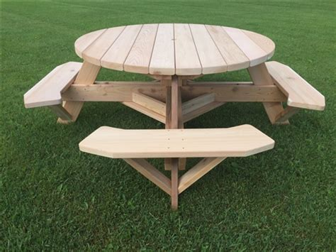 backyard picnic table 56 quot round cedar patio table backyard table w easy seating