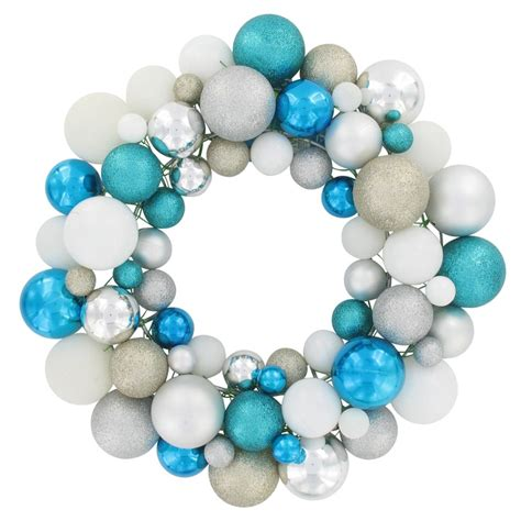 teal silver and white bauble wreath turquoise