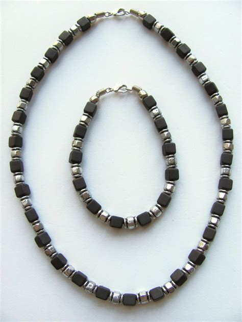 boys beaded necklace two tone black cube surfer beaded necklace bracelet s