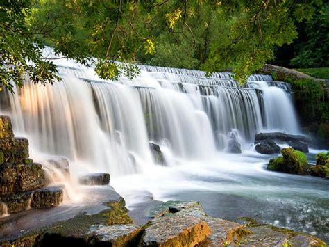 cascades waterfall falling wide desktop background