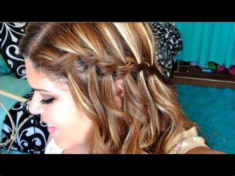 curly hair w/ a waterfall braid!!! tutorial youtube
