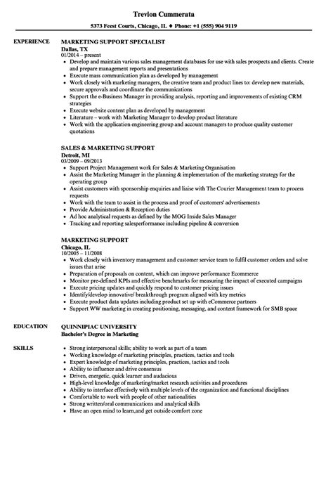 Marketing Support Specialist Sle Resume by Marketing Support Specialist Sle Resume Sle Of Resume For Accountant Resignation Letter