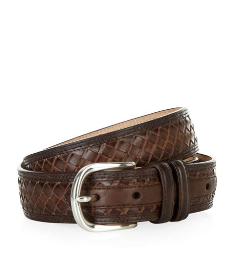 harrods border weave leather belt in brown for lyst