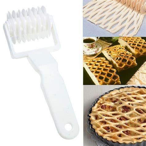 Lattice Pastry Roller White Plastic Penggiling Pastry Jaring plastic pizza lattice roller cutter pie bread pastry baking tool white alex nld
