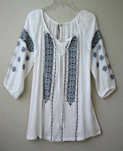 Embroidery White Tops new white vintage blue embroidered peasant blouse boho