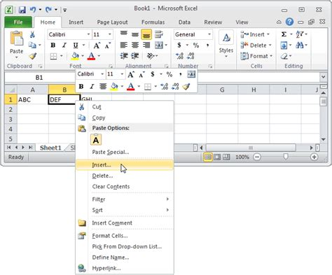 excel 2010 listbox tutorial ms excel 2010 insert a new column