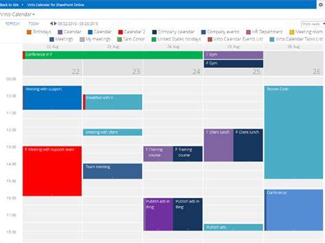 Office 365 Calendar Office 365 Calendar App For Sharepoint Virtosoftware