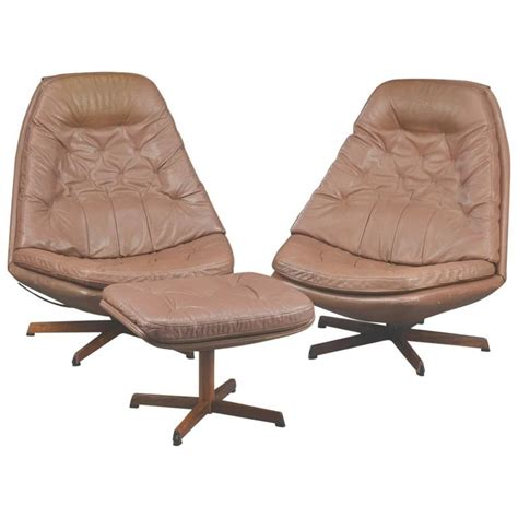 chairs with matching ottomans pair of 1960s danish leather swivel chairs with matching