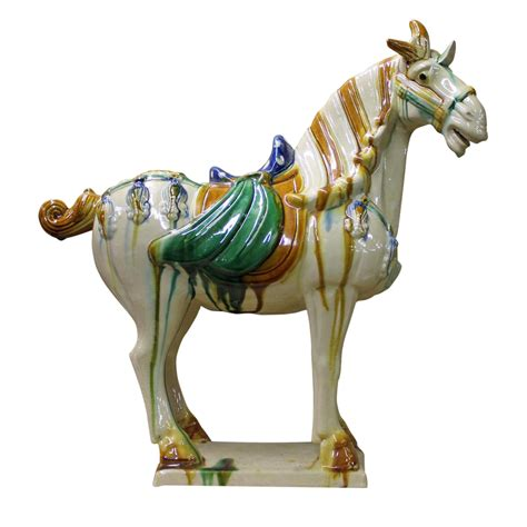 large antique glazed ceramic horse statue silver home chinese off white glazed ceramic horse figure chairish