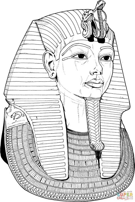 King Tut Mask Template by Coloring Pages Tutankhamun Mask Coloring