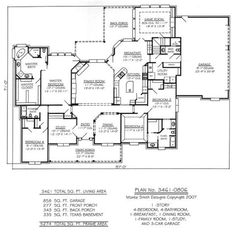 1 Story 4 Bedroom 4 Bathroom 1 Dining Room 1 Breakfest One Story House Plans With One Dining Area
