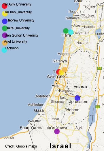 Best Mba Colleges In Israel by Location Of Universities In Israel
