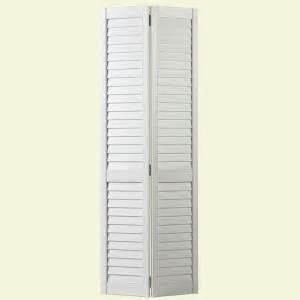 Home Depot Louvered Doors Interior Masonite 30 In X 80 In Plantation Louver Painted White Hollow Pine Bi Fold Door