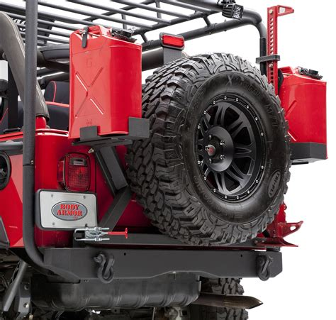 jeep rear bumper with tire body armor formed rear bumper tire carrier for 87 06