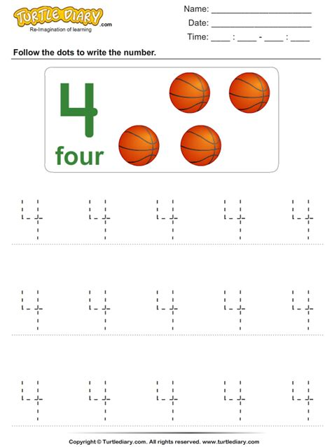 number 4 tracing worksheets trace the number four worksheet turtle diary