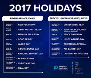 2018 Calendar Philippines With Holidays Seven Weekends List Of Holidays For 2017 According