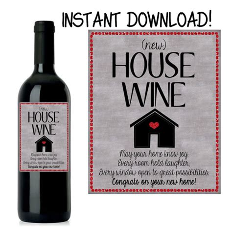 modern house wines house warming gift new home gift house warming wine label
