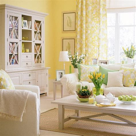 yellow and white room decor living room with white furniture and green and yellow accessories housetohome co uk