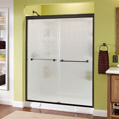 Home Depot Doors With Glass Delta Lyndall 60 In X 70 In Semi Frameless Sliding Shower Door In Bronze With Glass