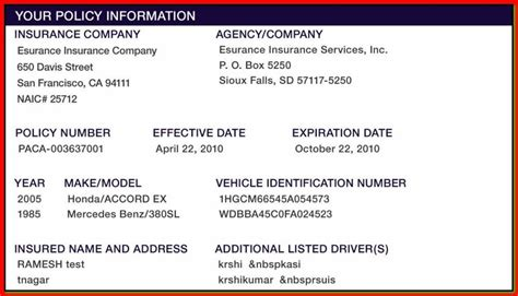 sle insurance card template proof of auto insurance template free template business
