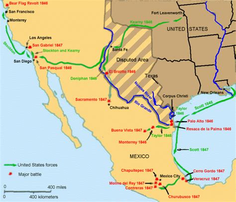 and mexican war map mexican war chronology of events and battles