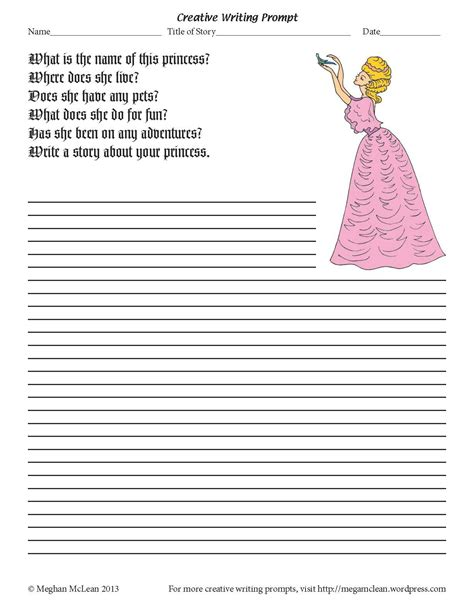 princess writing paper princess creative writing prompt the whale s tales