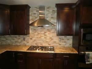 Stick On Backsplash Tiles For Kitchen Traditional Kitchen Solarius Slab And Tumbled Travertine