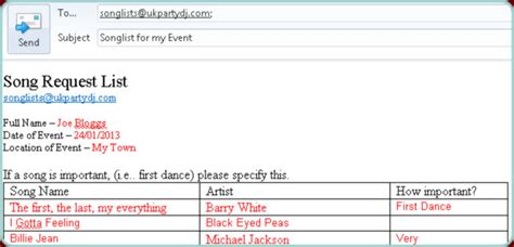Downloadable Song Lists And Track Lists For Mobile Discos Uk Party Dj Dj Song Request Template