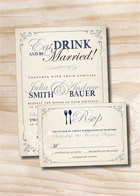 essen sie trinken und verheiratete rustikale hochzeiteinladung