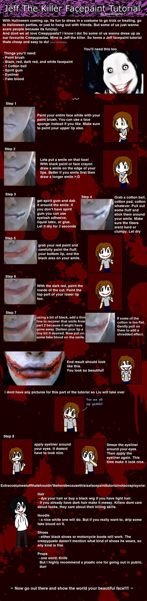 jeff the killer makeup tutorial epic jeff the killer facepaint tutorial by swordknight131