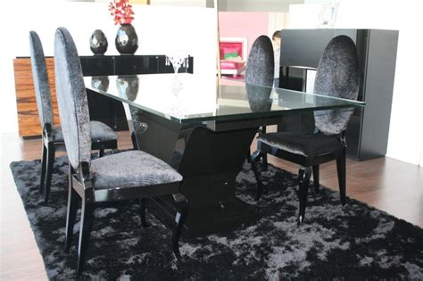 Black Gloss Dining Table And Chairs High Gloss Black Dining Table With Glass Top And 4 High Back Chairs
