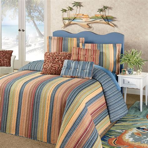 quilted comforters katelin reversible striped quilted oversized bedspread