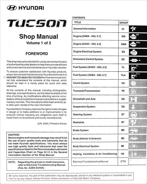 owners manual for a 2012 hyundai tucson service manual pdf 2006 hyundai tucson workshop manuals 2005 hyundai tucson repair shop manual 2 volume set original