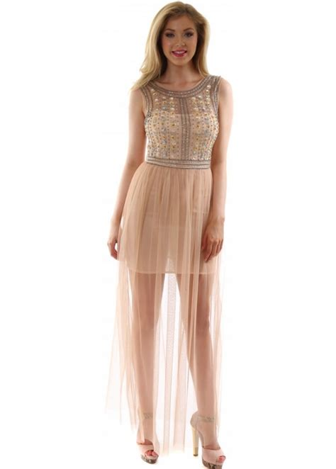 goddess evening dress sequin bead maxi dress