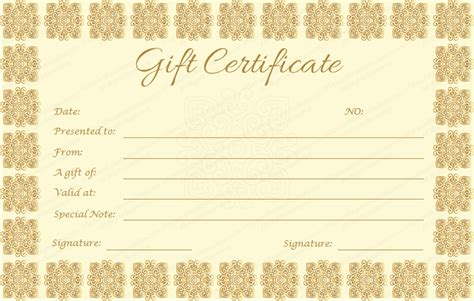 elegant gift certificate template golden edition