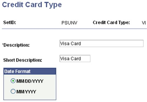 Credit Card Type Format Setting Up Credit Card Types