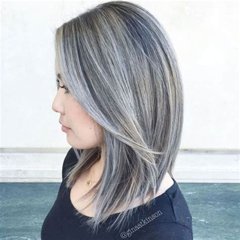 white highlights to blend in gray hair 40 ideas of gray and silver highlights on brown hair